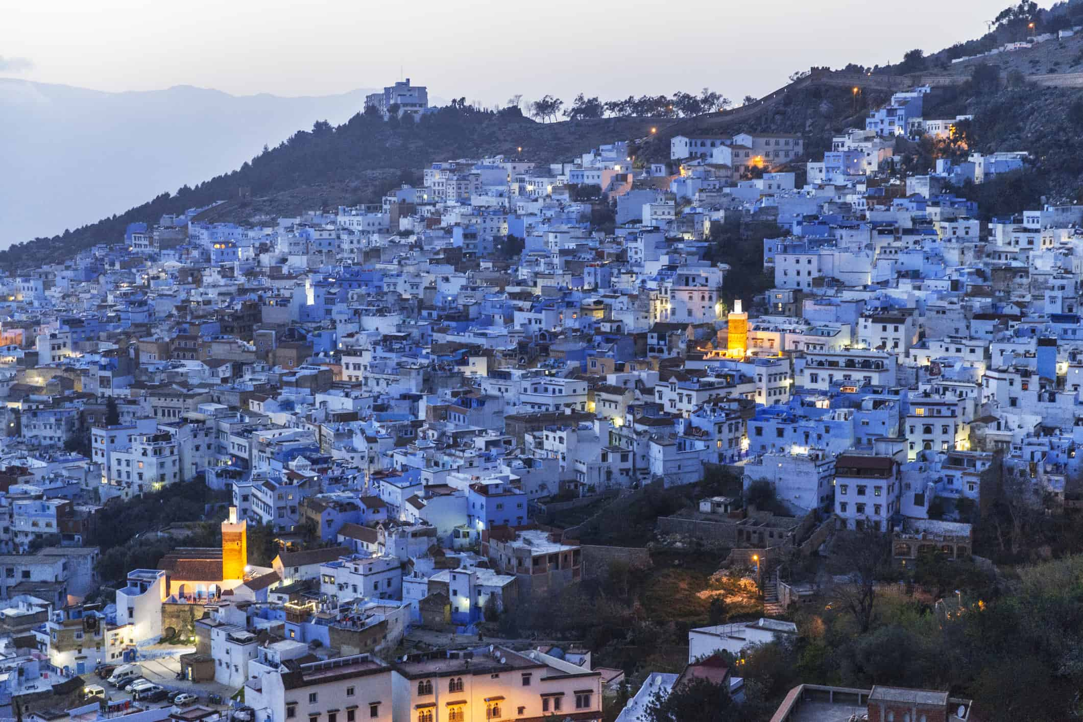 Chefchaouen Morocco cityscape at sunset