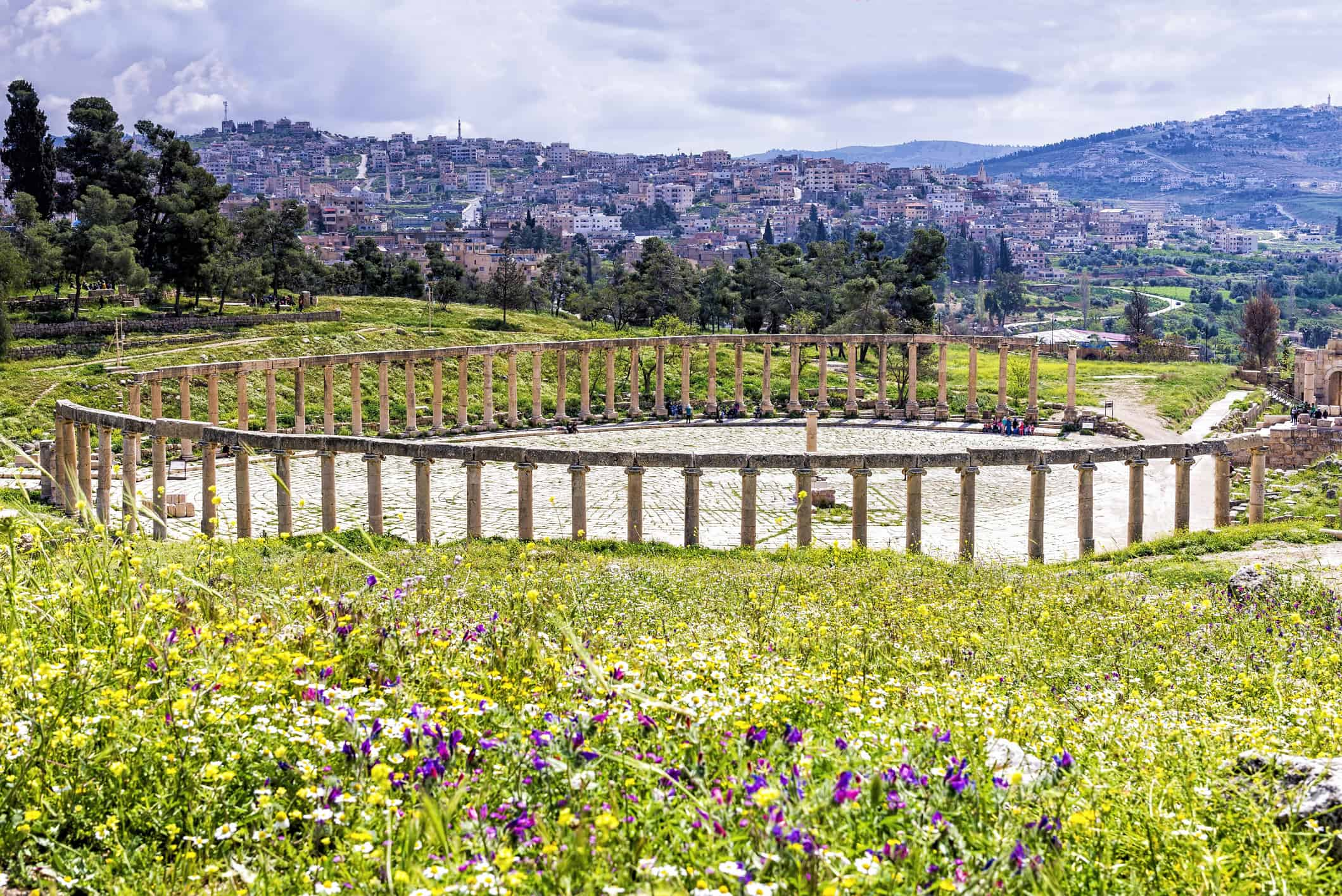 The Oval Forum colonnade in ancient Jerash, Jordan