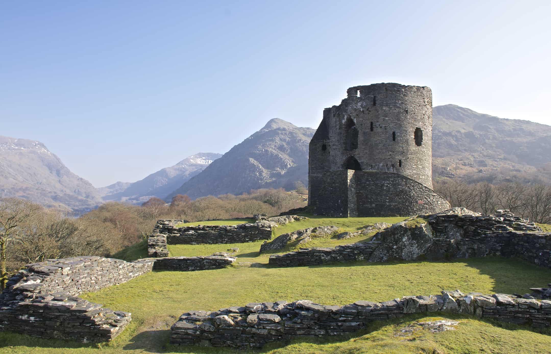 Dolbadarn Castle Keep in Llanberis, 13th century, near Padarn lake, Wales, UK