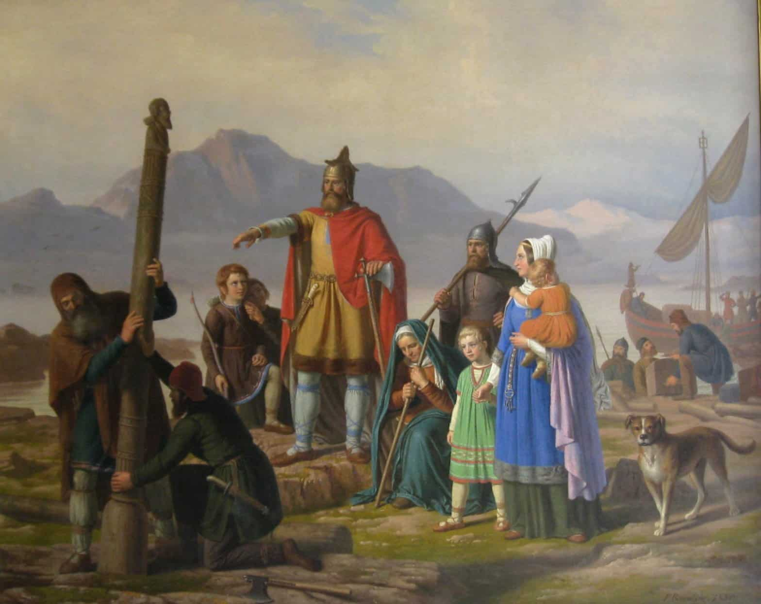 A depiction of Ingolfr arriving in Iceland with his pillars of wood