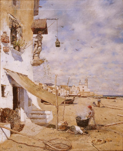 A painting of Sitges by Joan Roig Soler around 1885