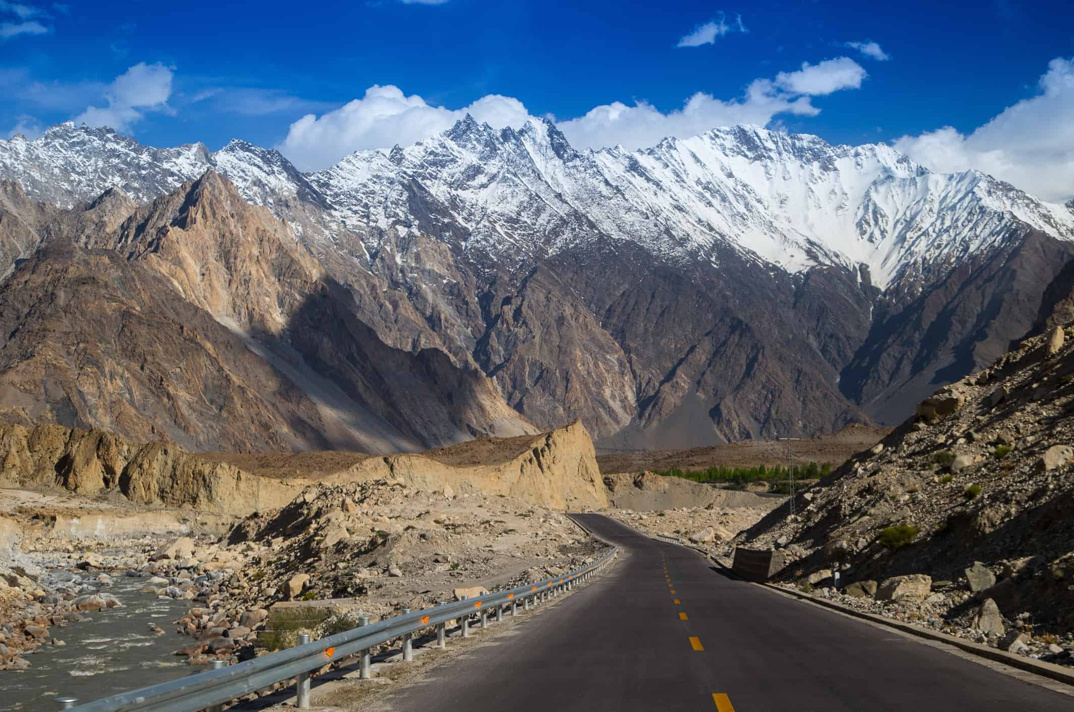 Karakoram Highway with mountain in background