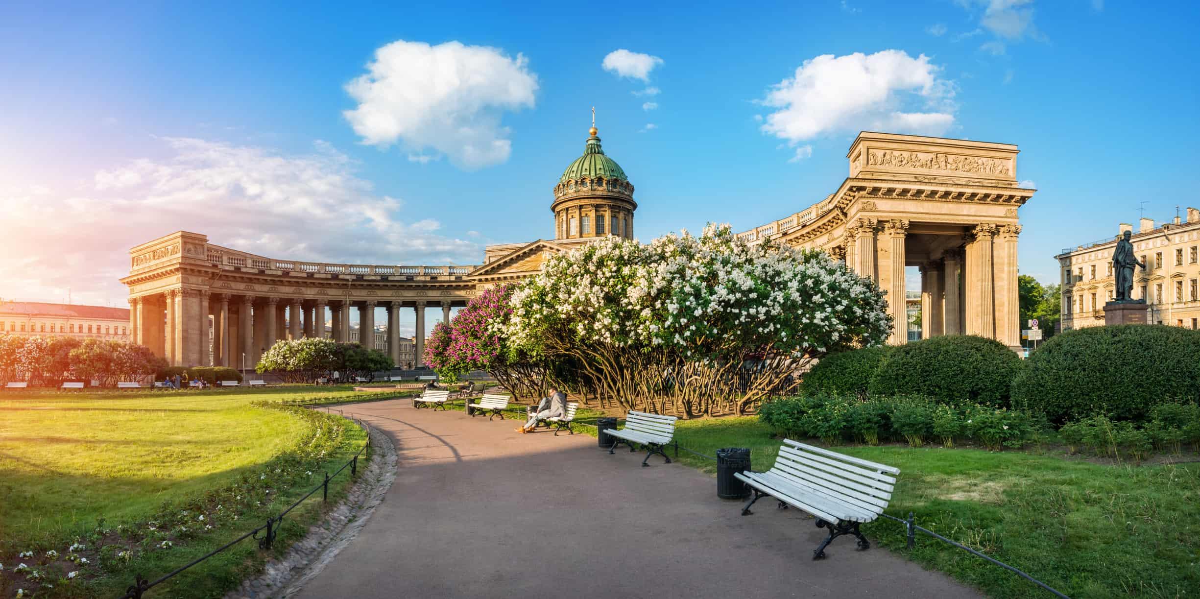 Kazan Cathedral bushes of blossoming lilacs