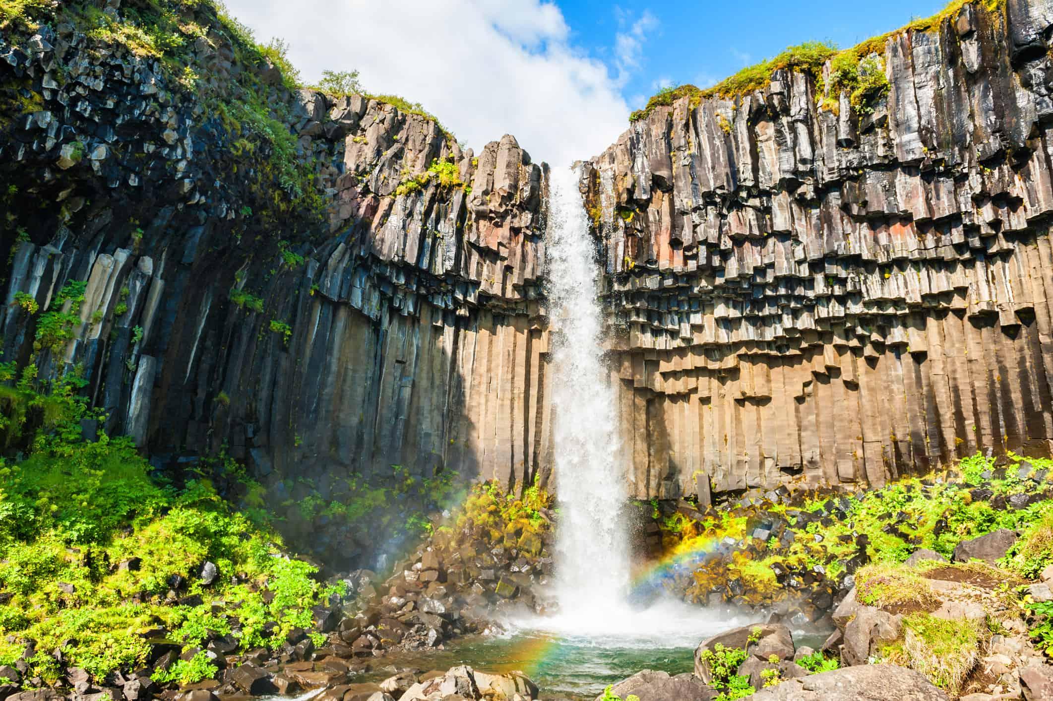 Svartifoss waterfall in Skaftafell national park, Iceland.