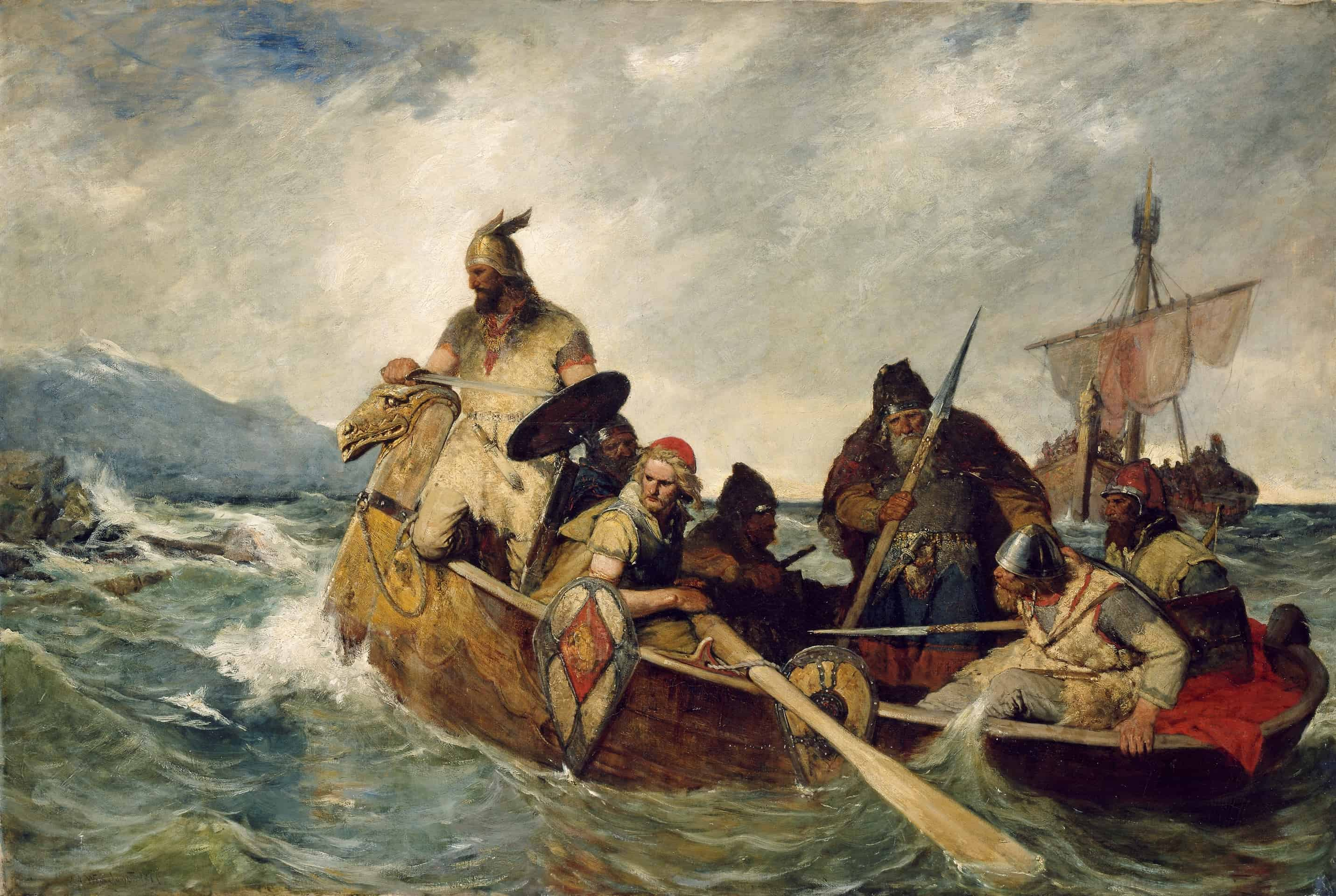 A depiction of the Norwegians landing in Iceland