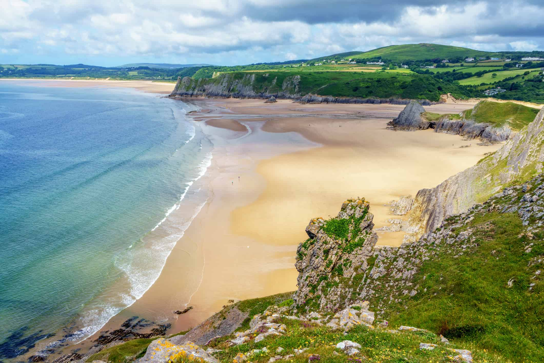Three Cliffs Bay on Gower Peninsular, Wales, UK