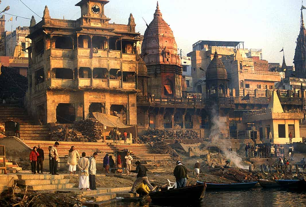 A cremation ghat in Varanasi