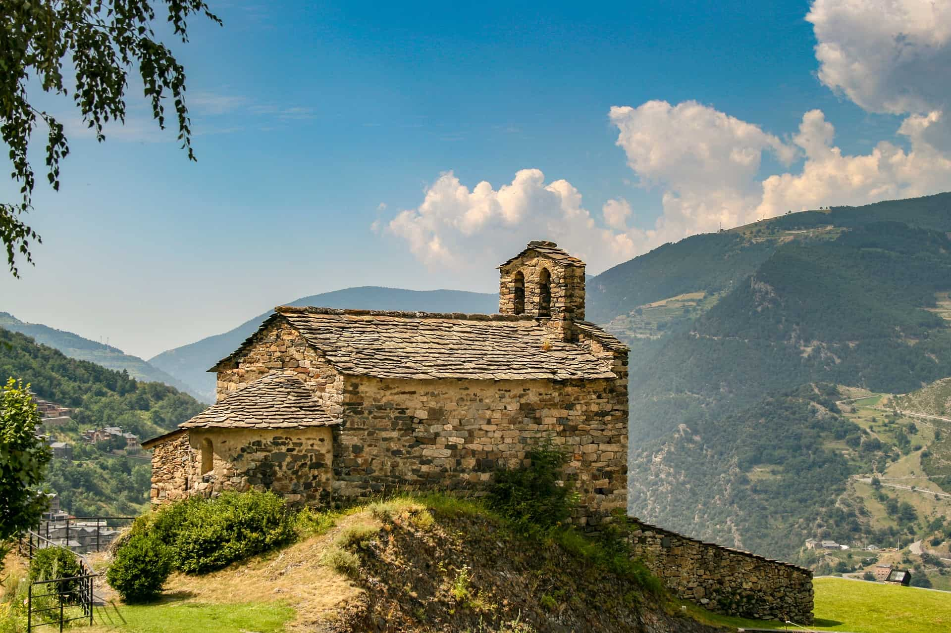 A church on a hillside in Andorra