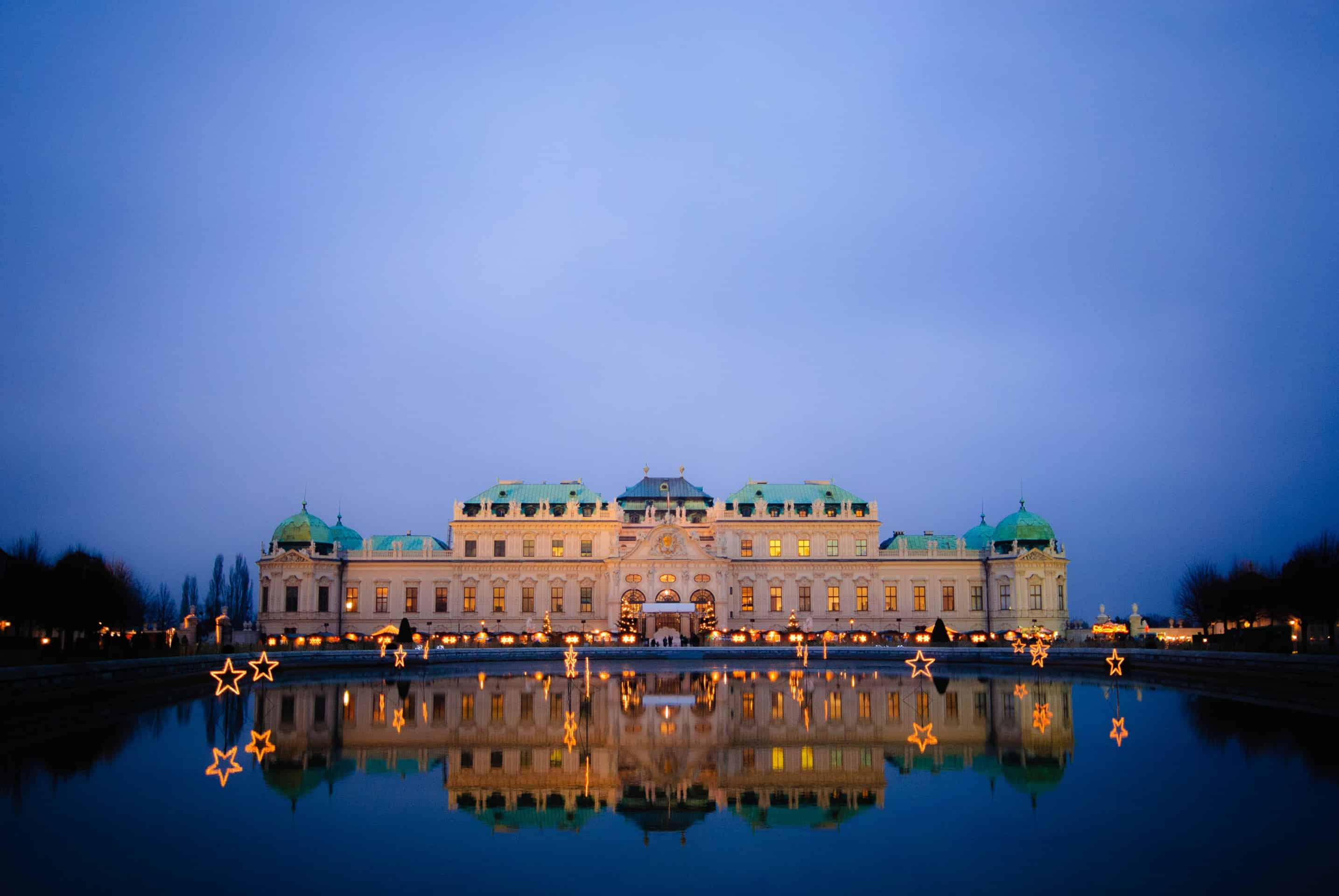 The Upper Belvedere lit up at night