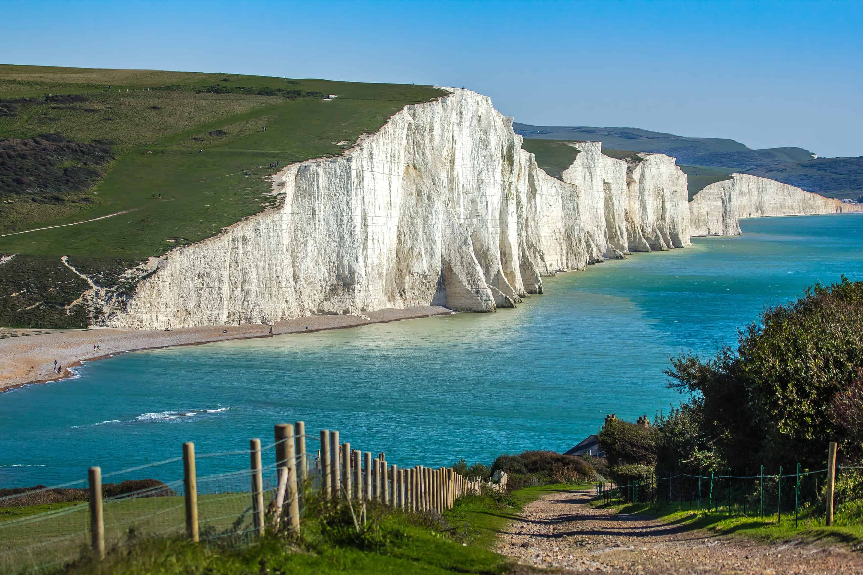 View of the Seven Sisters, a series of chalk cliffs by the English Channel, East Sussex, England
