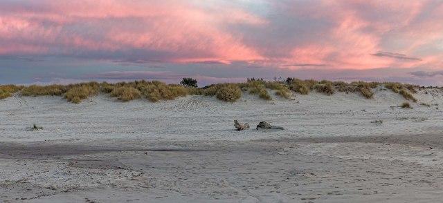 The sun sets at Nairn East Beach
