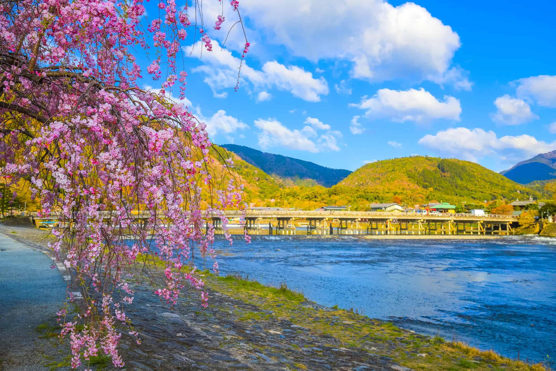 Togetsukyo Bridge in Arashiyama Kyoto Japan
