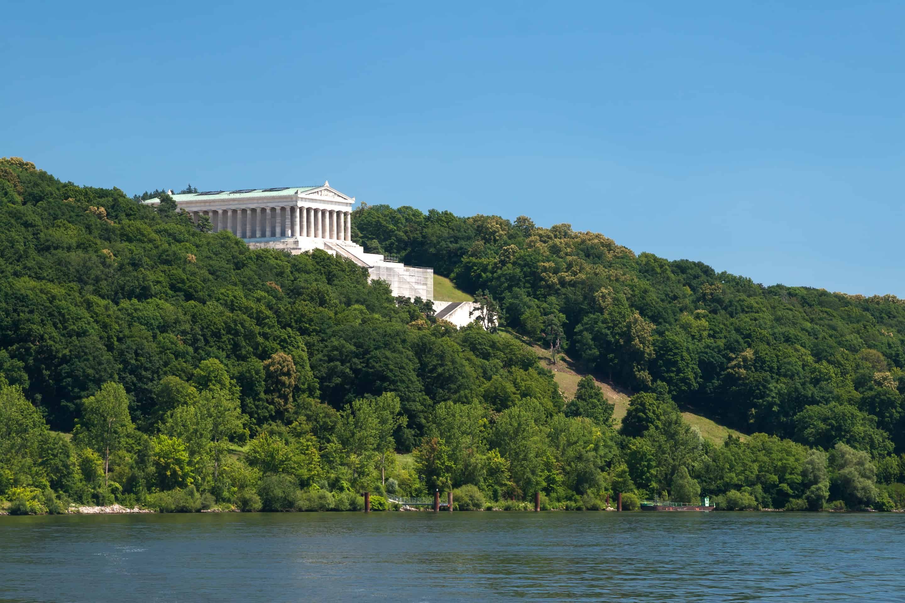 Walhalla Memorial at the river, near the city of Regensburg in Bavaria, Germany