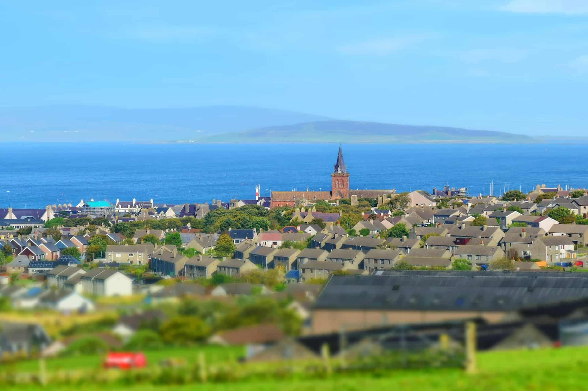 The town of Kirkwall, you can see St Magnus Cathedral in the distance