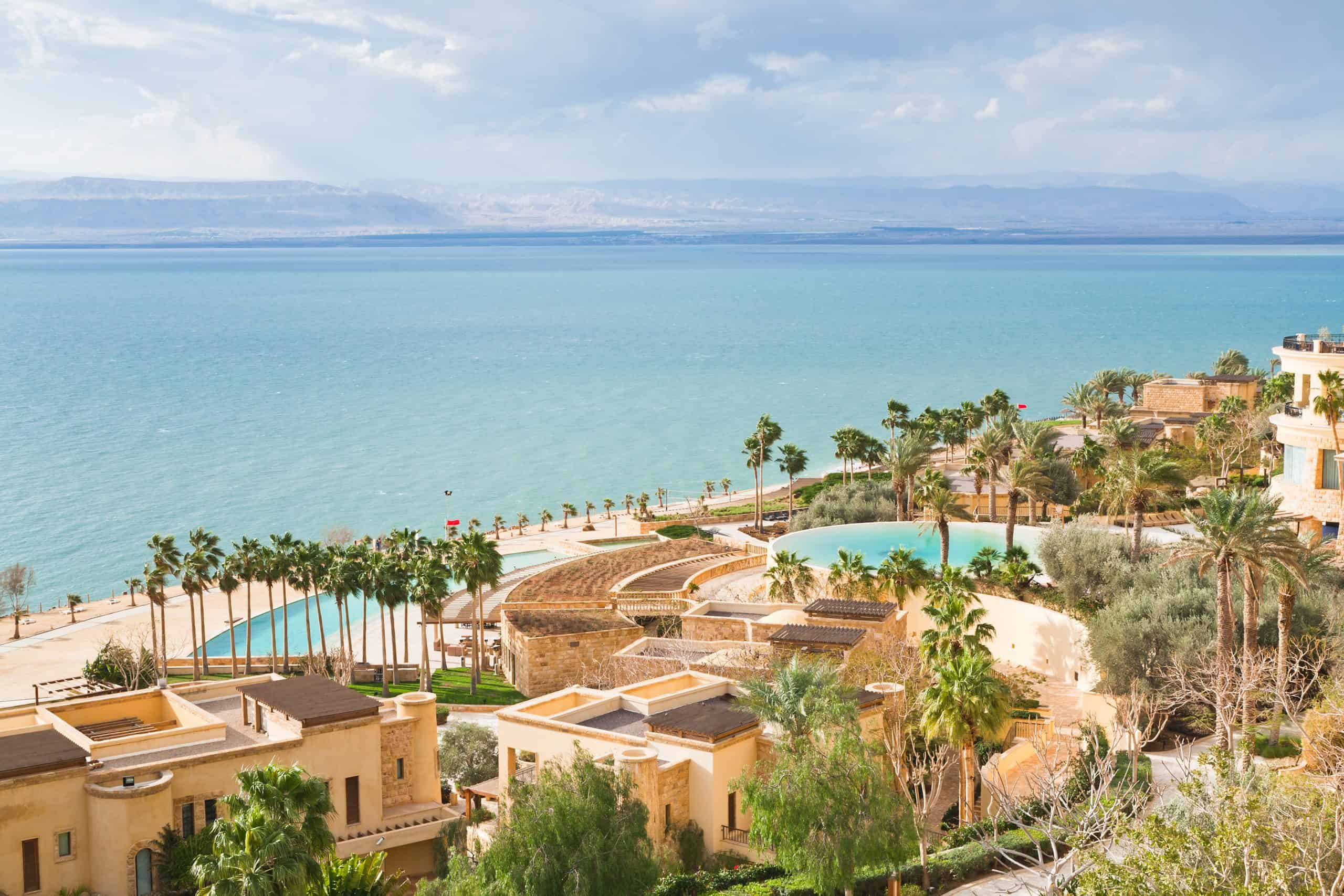 View of a resort on the Jordanian shore of the Dead Sea