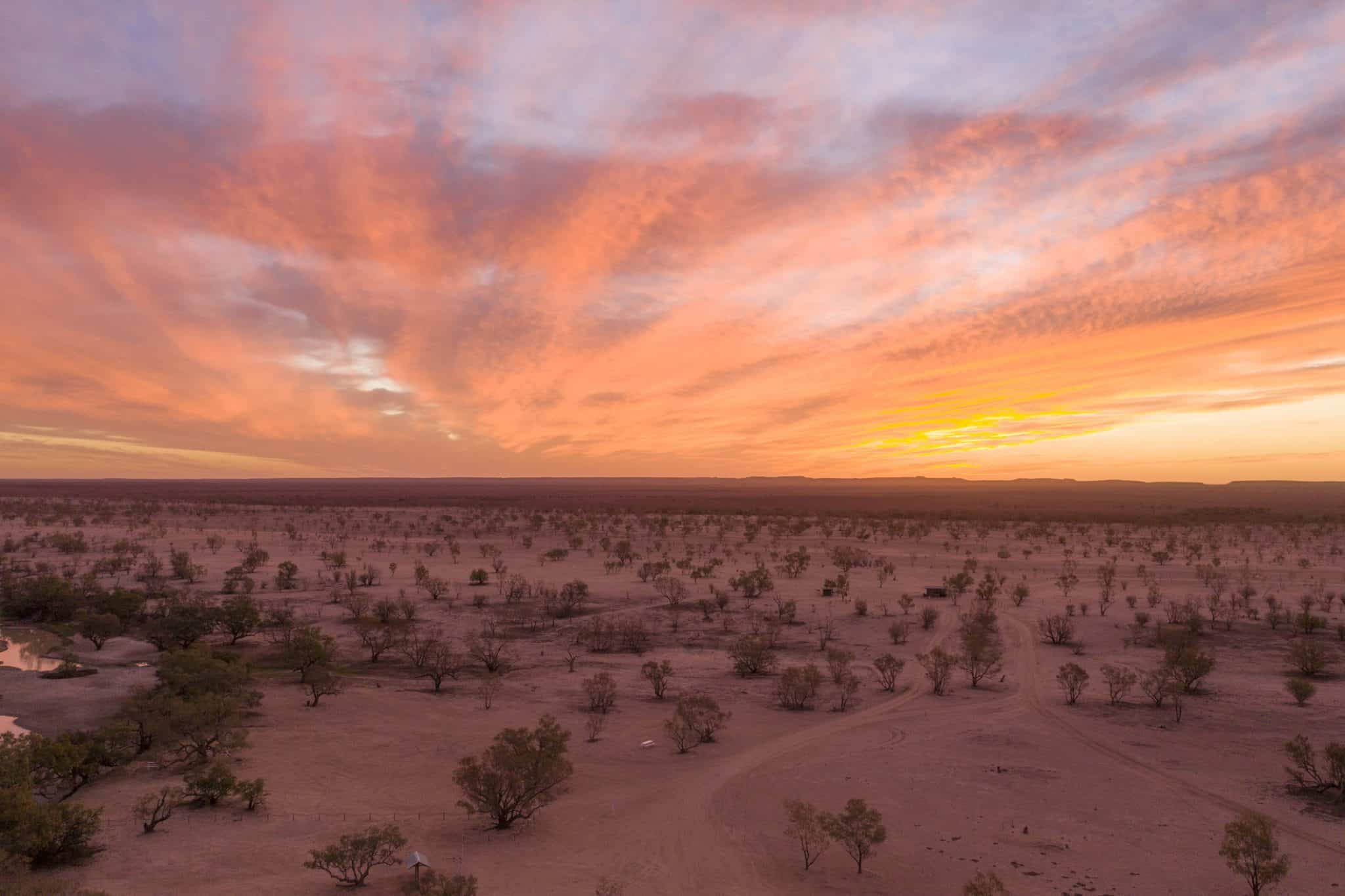 Sunset in the far outback.