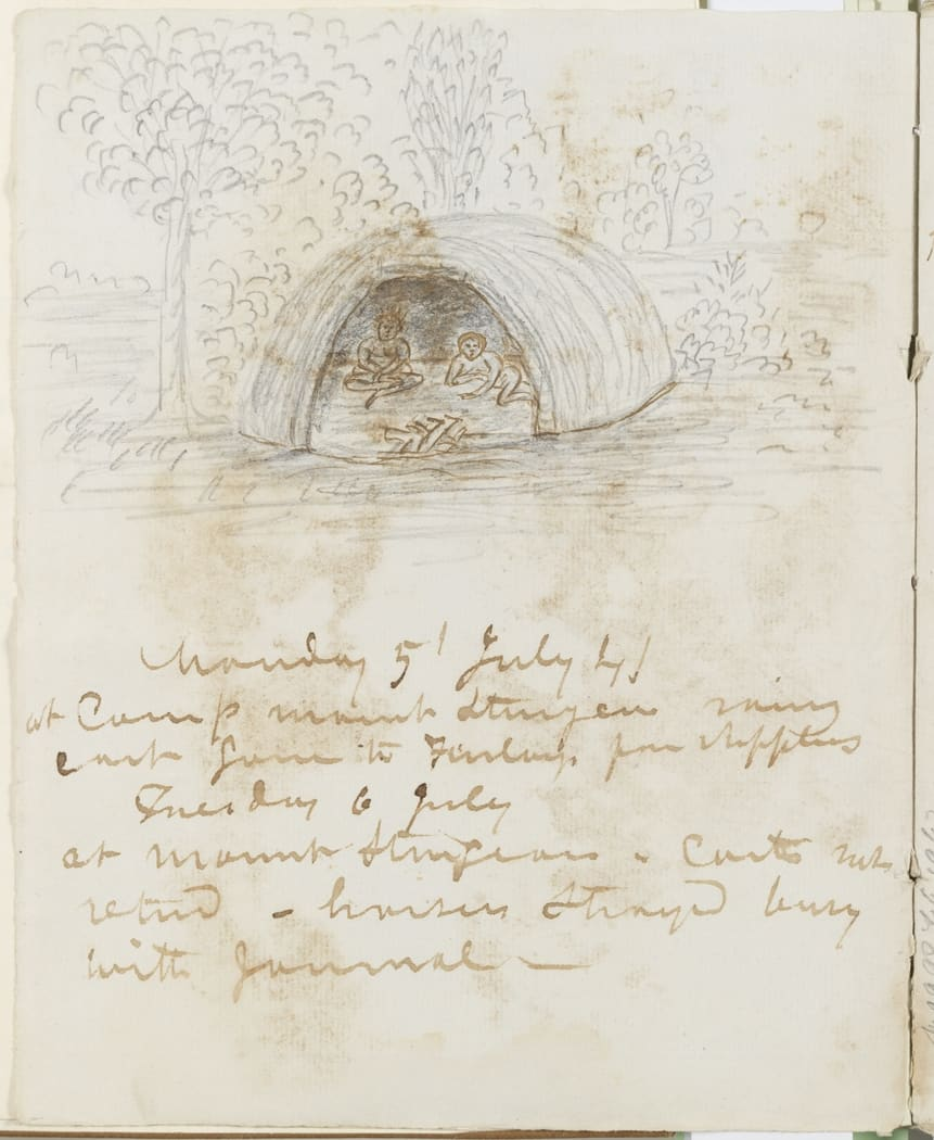 Dome-shaped dwellings, sketched in the journals of George Augustus Robinson, 1841.