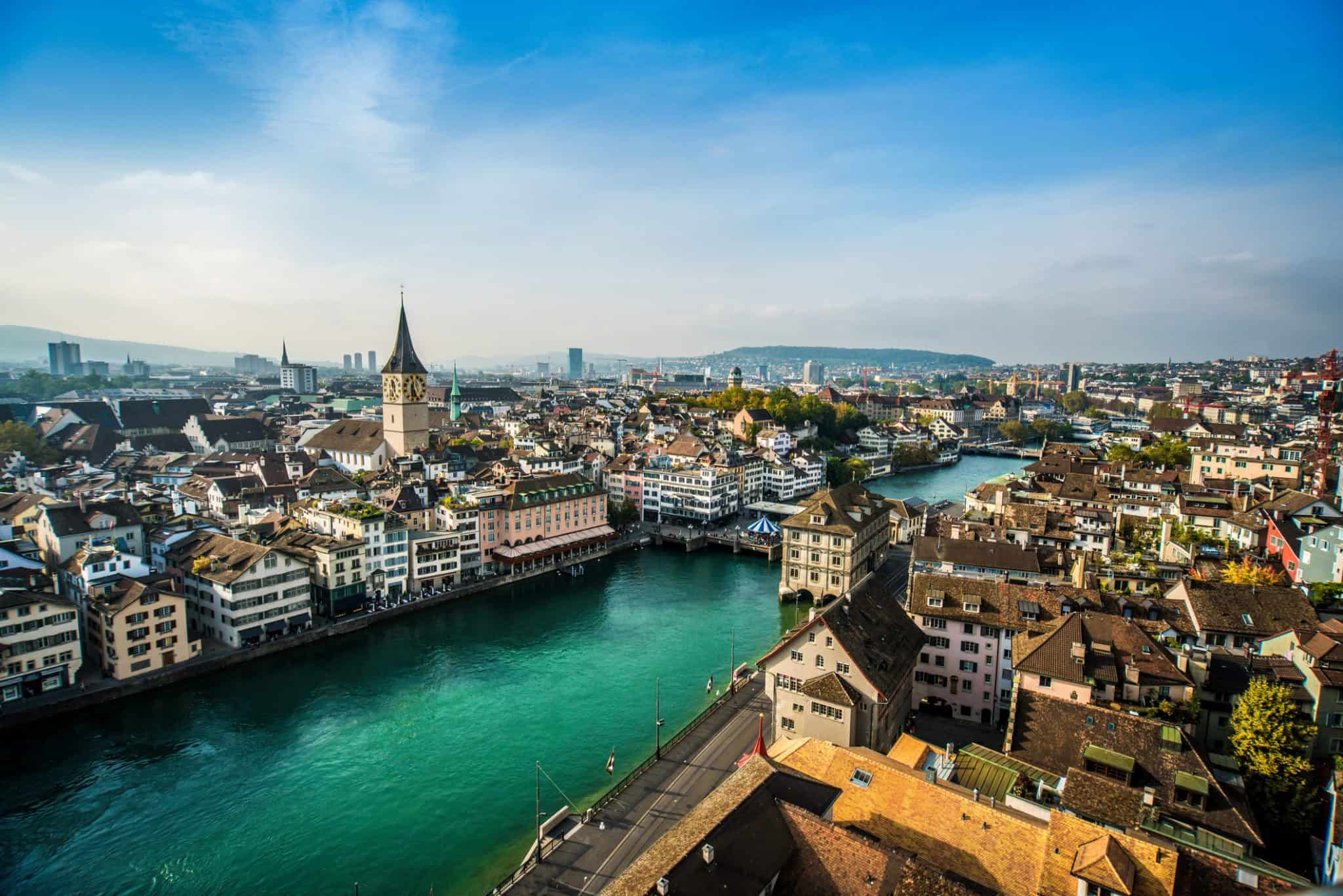 Aerial View Of Zurich, Switzerland