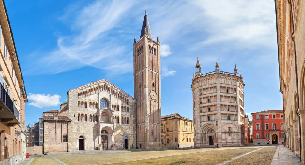 Piazza Duomo with Cathedral and Baptistery, Parma, Emilia-Romagna, Italy