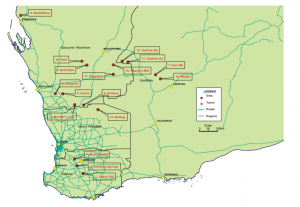 General location of sites in in the south west of Western Australia